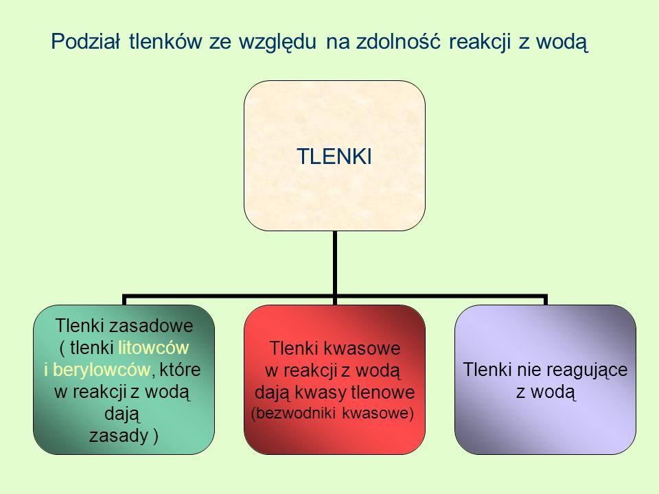 TLENKI Tlenki zasadowe ( tlenki litowców i berylowców, które w reakcji z wodą dają zasady ) Tlenki kwasowe w reakcji z wodą dają kwasy tlenowe (bezwod