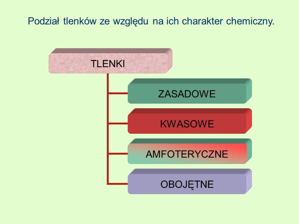 Podział tlenków ze względu na ich charakter chemiczny. TLENKI ZASADOWE KWASOWE AMFOTERYCZNE OBOJĘTNE