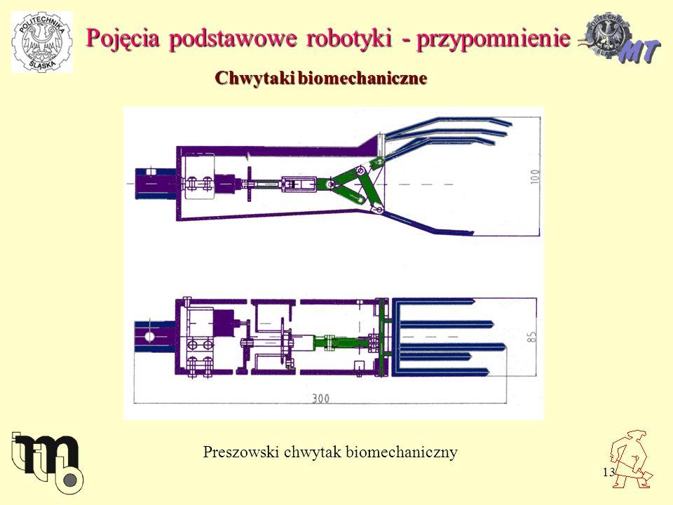 13 Pojęcia podstawowe robotyki - przypomnienie Chwytaki biomechaniczne Preszowski chwytak biomechaniczny
