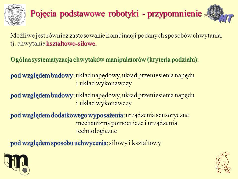 9 Pojęcia podstawowe robotyki - przypomnienie Podstawowe parametry chwytaków: LpNazwa parametruJednostka miary Oznaczenie parametru 1Udźwig chwytakakg 2Masa chwytakakgM.