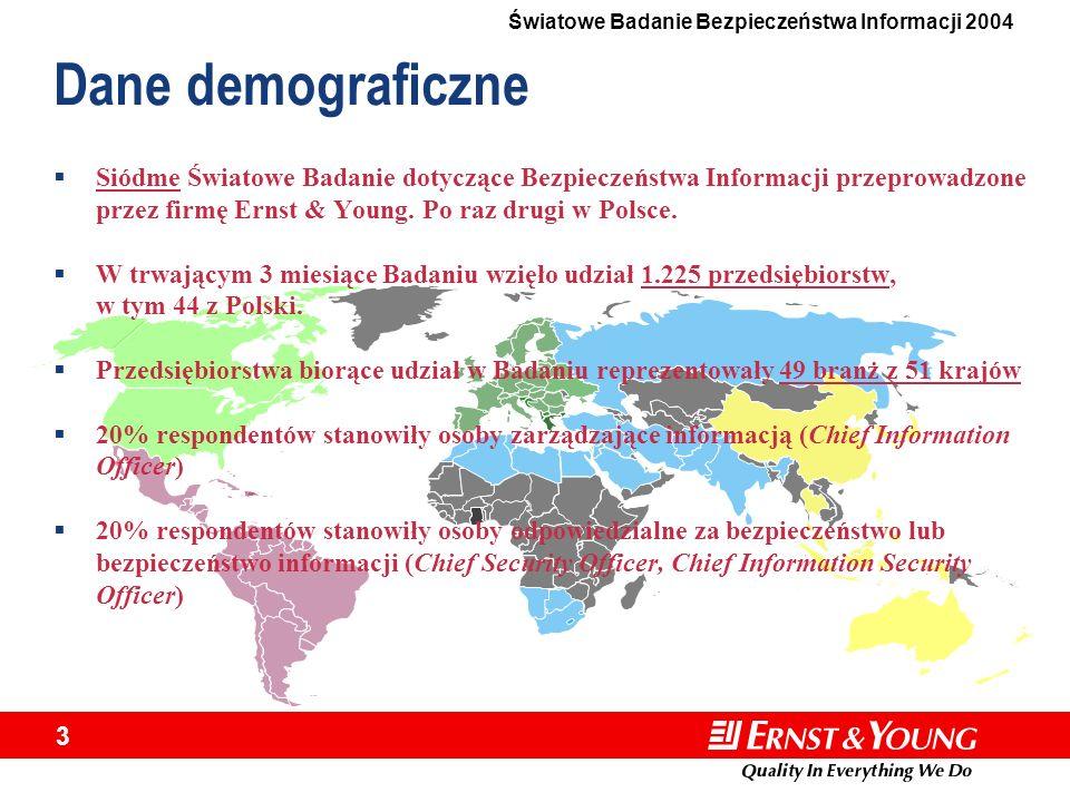 3 Dane demograficzne Siódme Światowe Badanie dotyczące Bezpieczeństwa Informacji przeprowadzone przez firmę Ernst & Young. Po raz drugi w Polsce. W tr