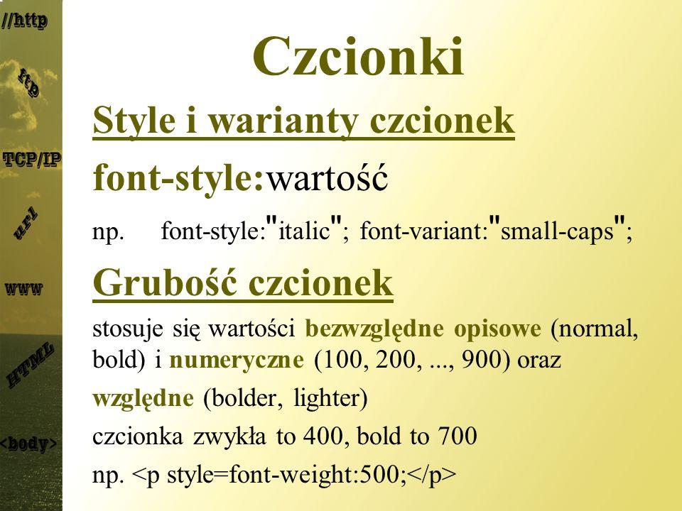 Czcionki Style i warianty czcionek font-style:wartość np.font-style: