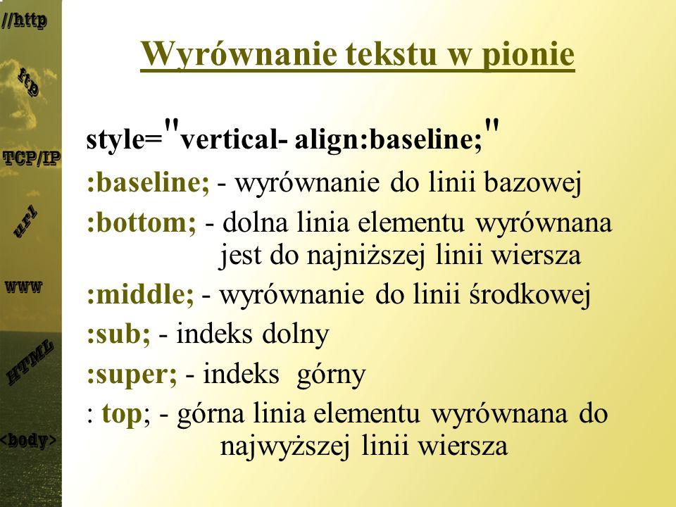 Wyrównanie tekstu w pionie style=