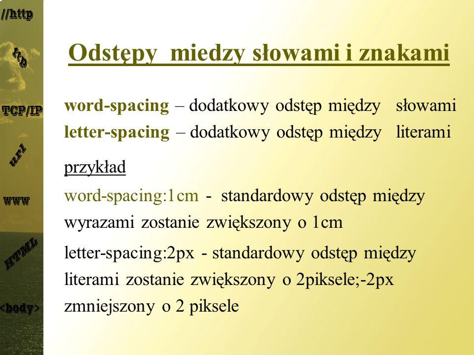 Odstępy miedzy słowami i znakami word-spacing – dodatkowy odstęp między słowami letter-spacing – dodatkowy odstęp między literami przykład word-spacin