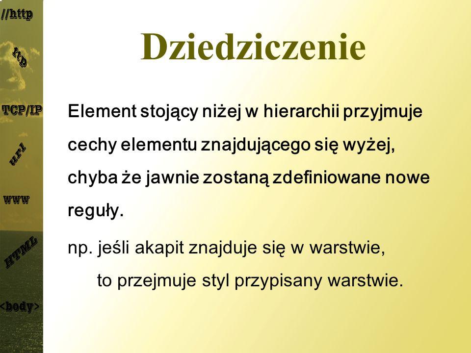 Selektor pseudoklasy oznaczają elementy o określonym stanie bądź właściwości element:pseudo_klasa{definicje} Lista pseudoklas: :activeelement w stanie aktywnym :first-childbędący pierwszym elem.