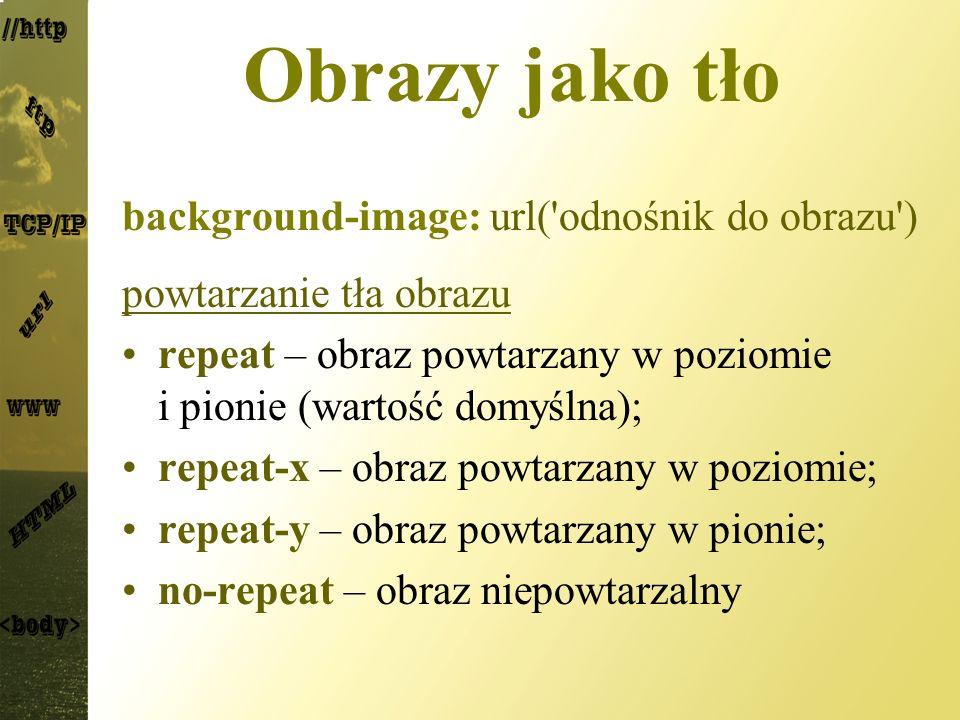 Obrazy jako tło background-image: url('odnośnik do obrazu') powtarzanie tła obrazu repeat – obraz powtarzany w poziomie i pionie (wartość domyślna); r