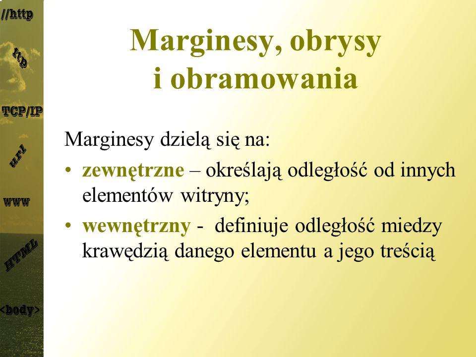 Marginesy, obrysy i obramowania Marginesy dzielą się na: zewnętrzne – określają odległość od innych elementów witryny; wewnętrzny - definiuje odległoś