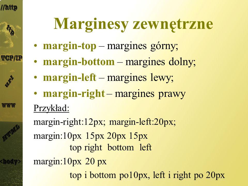 Marginesy zewnętrzne margin-top – margines górny; margin-bottom – margines dolny; margin-left – margines lewy; margin-right – margines prawy Przykład: