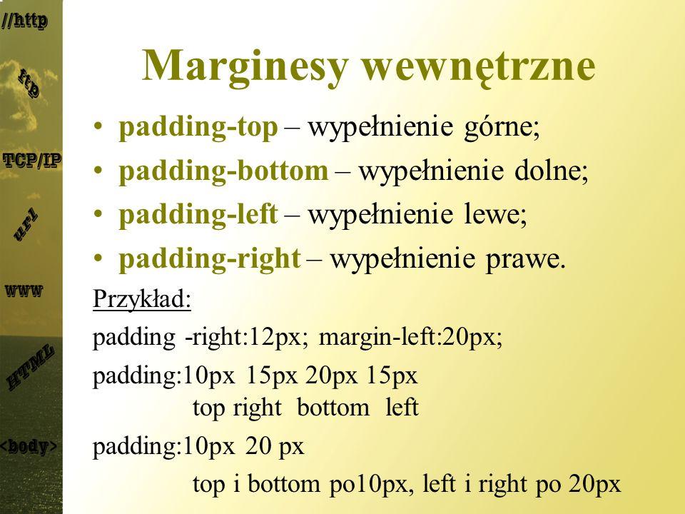 Marginesy wewnętrzne padding-top – wypełnienie górne; padding-bottom – wypełnienie dolne; padding-left – wypełnienie lewe; padding-right – wypełnienie