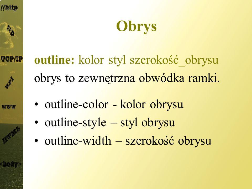 Obrys outline: kolor styl szerokość_obrysu obrys to zewnętrzna obwódka ramki. outline-color - kolor obrysu outline-style – styl obrysu outline-width –
