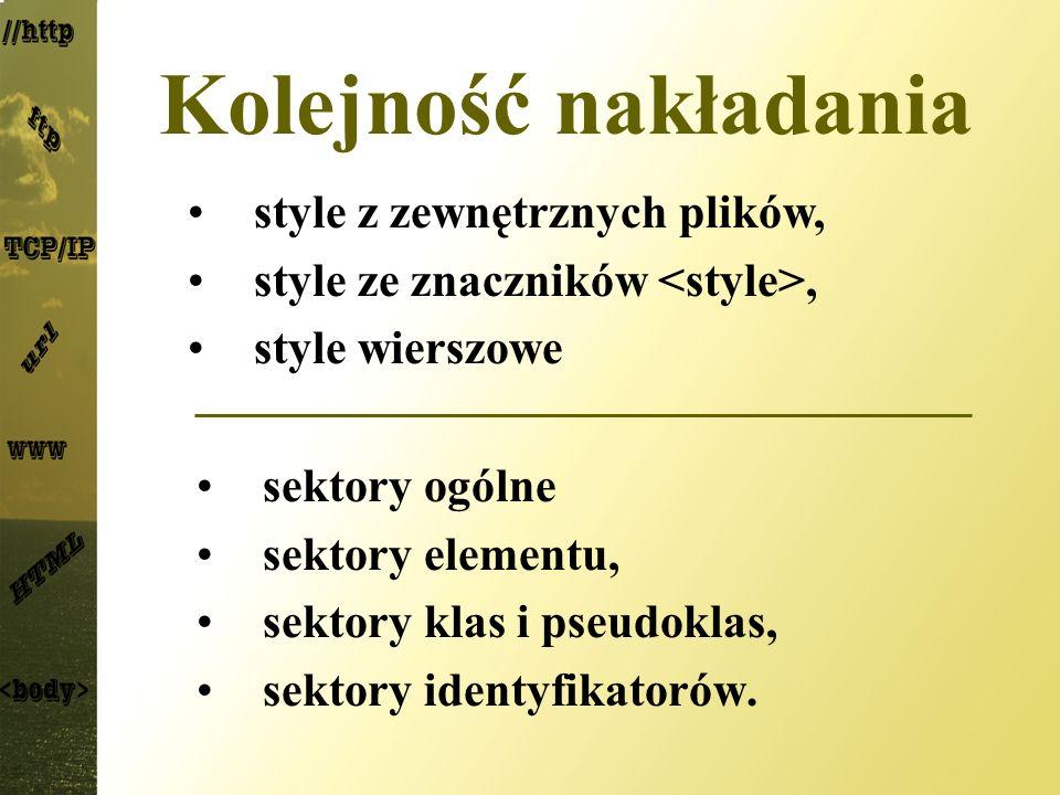 Kolejność nakładania sektory ogólne sektory elementu, sektory klas i pseudoklas, sektory identyfikatorów. style z zewnętrznych plików, style ze znaczn