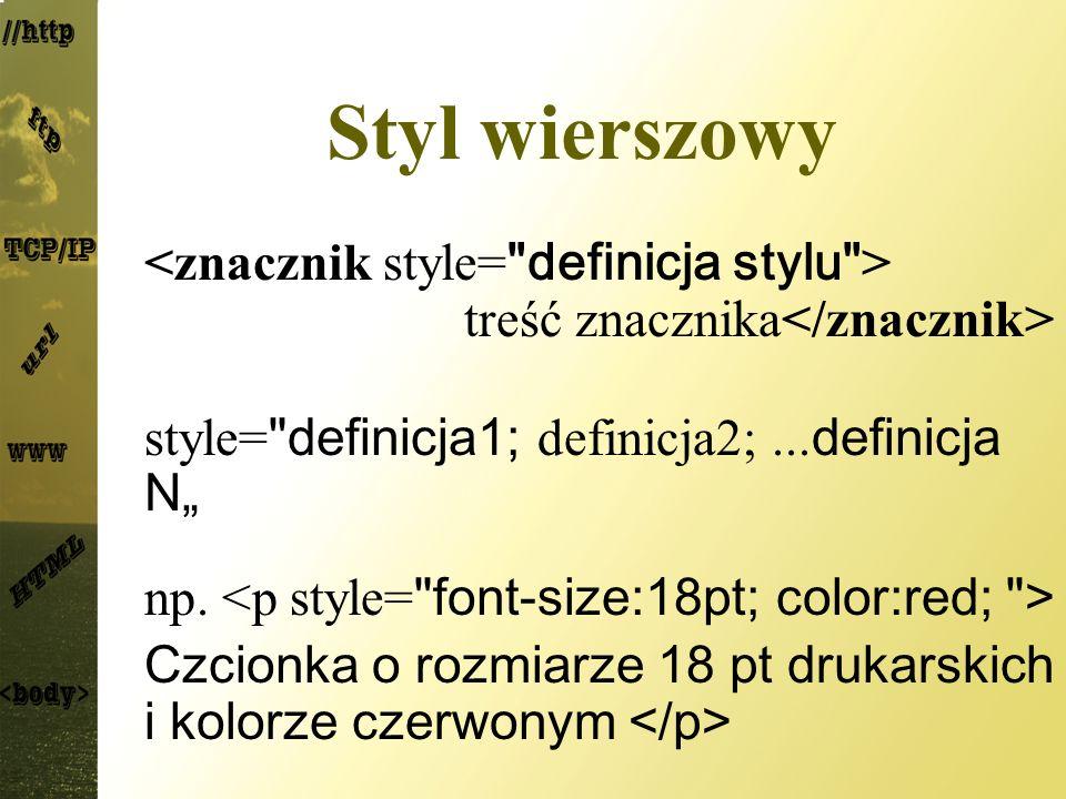 Czcionki Rodziny czcionek font-family:nazwa1, nazwa2,...; nazwa – nazwa czcionki lub rodziny czcionek np.