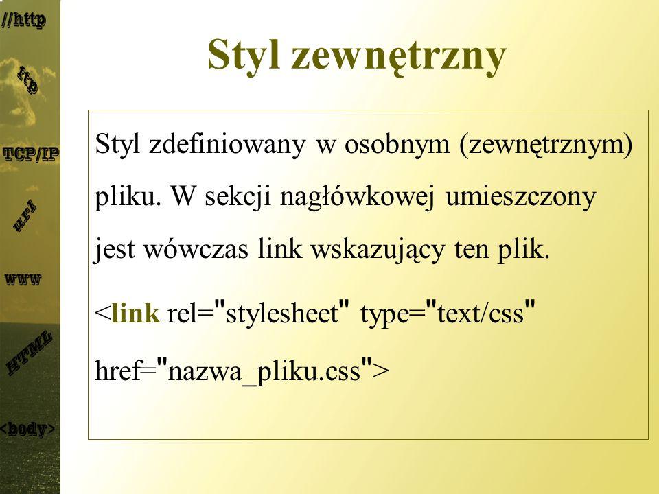 Styl zewnętrzny Styl zdefiniowany w osobnym (zewnętrznym) pliku. W sekcji nagłówkowej umieszczony jest wówczas link wskazujący ten plik.