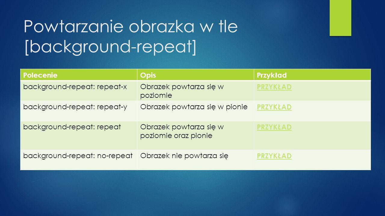 Powtarzanie obrazka w tle [background-repeat] PolecenieOpisPrzykład background-repeat: repeat-xObrazek powtarza się w poziomie PRZYKŁAD background-repeat: repeat-yObrazek powtarza się w pionie PRZYKŁAD background-repeat: repeatObrazek powtarza się w poziomie oraz pionie PRZYKŁAD background-repeat: no-repeatObrazek nie powtarza się PRZYKŁAD