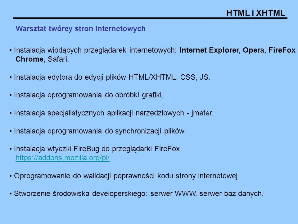 HTML i XHTML Warsztat twórcy stron internetowych Instalacja wiodących przeglądarek internetowych: Internet Explorer, Opera, FireFox Chrome, Safari. In