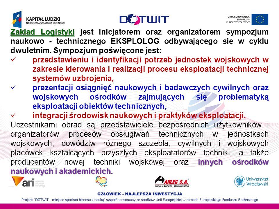 Zakład Logistyki Zakład Logistyki jest inicjatorem oraz organizatorem sympozjum naukowo - technicznego EKSPLOLOG odbywającego się w cyklu dwuletnim. S