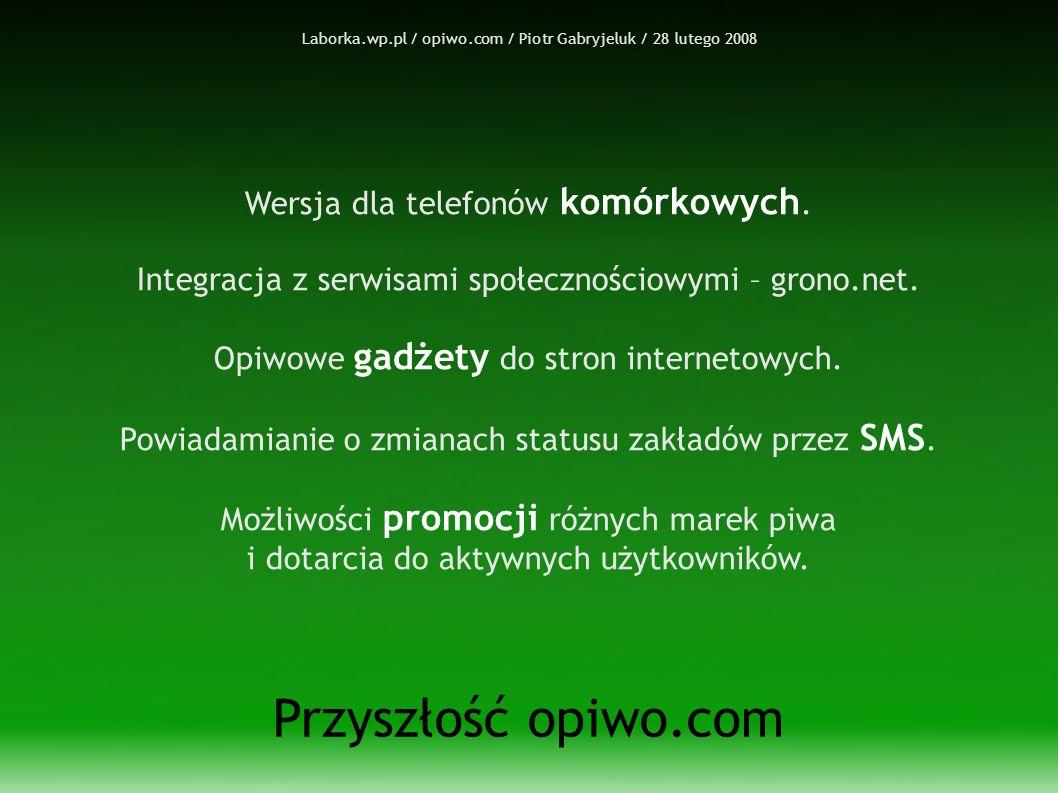 Laborka.wp.pl / opiwo.com / Piotr Gabryjeluk / 28 lutego 2008 Przyszłość opiwo.com Wersja dla telefonów komórkowych.