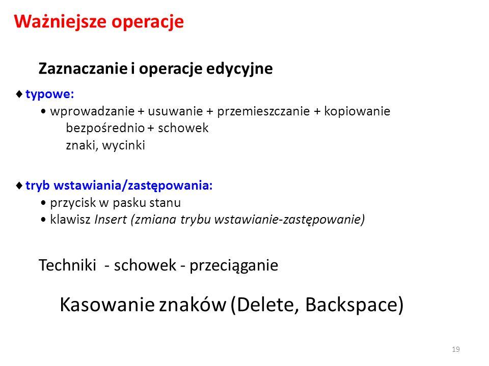 Zaznaczanie i operacje edycyjne Ważniejsze operacje typowe: wprowadzanie + usuwanie + przemieszczanie + kopiowanie bezpośrednio + schowek znaki, wycinki tryb wstawiania/zastępowania: przycisk w pasku stanu klawisz Insert (zmiana trybu wstawianie-zastępowanie) Techniki - schowek - przeciąganie Kasowanie znaków (Delete, Backspace) 19
