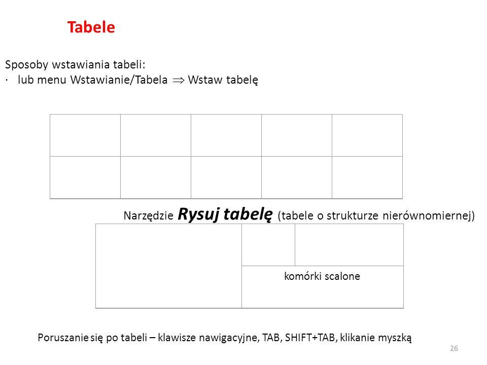 Tabele Sposoby wstawiania tabeli: · lub menu Wstawianie/Tabela Wstaw tabelę komórki scalone Poruszanie się po tabeli – klawisze nawigacyjne, TAB, SHIF