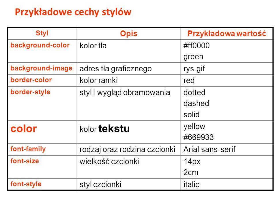 Styl OpisPrzykładowa wartość background-color kolor tła#ff0000 green background-image adres tła graficznegorys.gif border-color kolor ramkired border-style styl i wygląd obramowaniadotted dashed solid color kolor tekstu yellow #669933 font-family rodzaj oraz rodzina czcionkiArial sans-serif font-size wielkość czcionki14px 2cm font-style styl czcionkiitalic Przykładowe cechy stylów