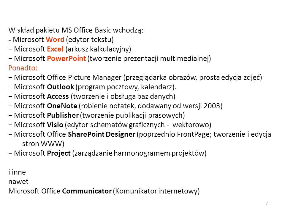 W skład pakietu MS Office Basic wchodzą: Microsoft Word (edytor tekstu) Microsoft Excel (arkusz kalkulacyjny) Microsoft PowerPoint (tworzenie prezenta