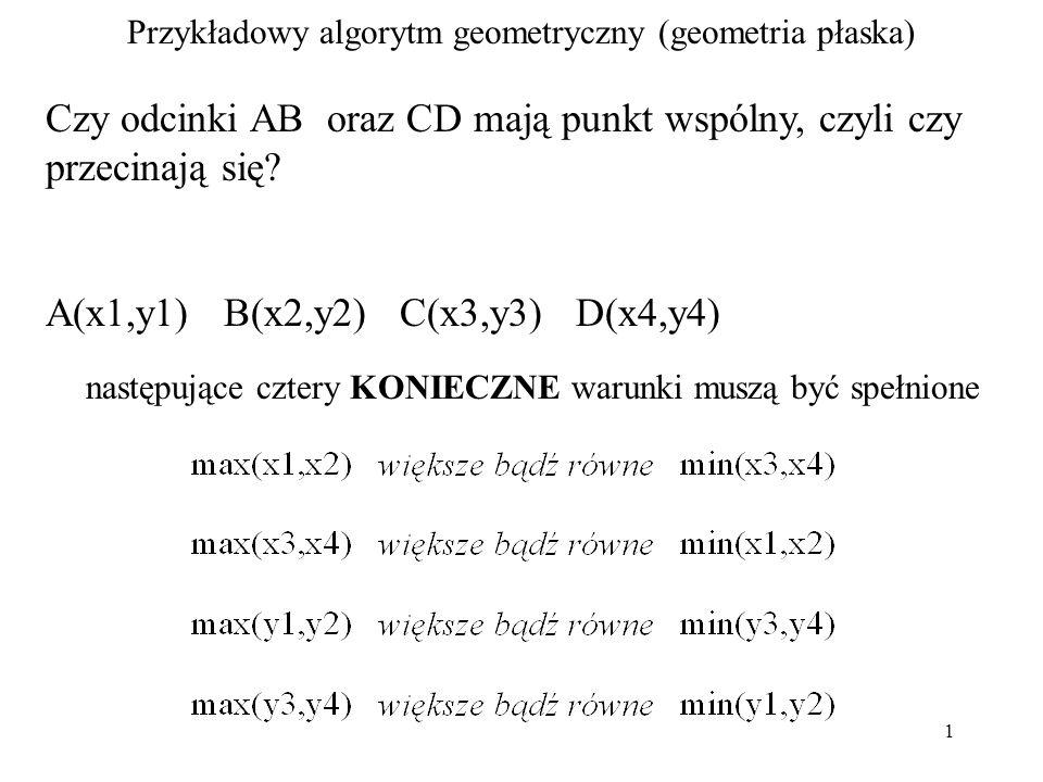 1 Przykładowy algorytm geometryczny (geometria płaska) Czy odcinki AB oraz CD mają punkt wspólny, czyli czy przecinają się.