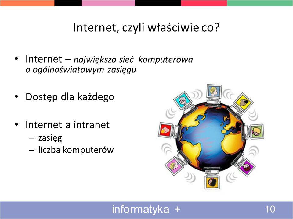 Internet, czyli właściwie co? Internet – największa sieć komputerowa o ogólnoświatowym zasięgu Dostęp dla każdego Internet a intranet – zasięg – liczb