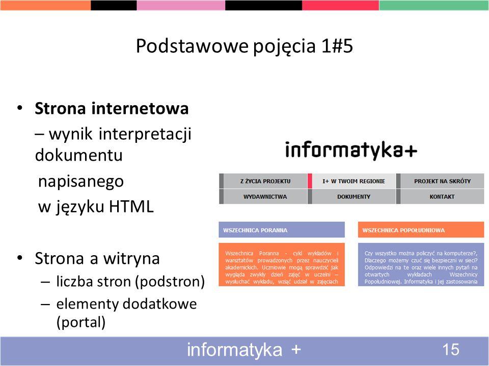 Podstawowe pojęcia 1#5 Strona internetowa – wynik interpretacji dokumentu napisanego w języku HTML Strona a witryna – liczba stron (podstron) – elemen