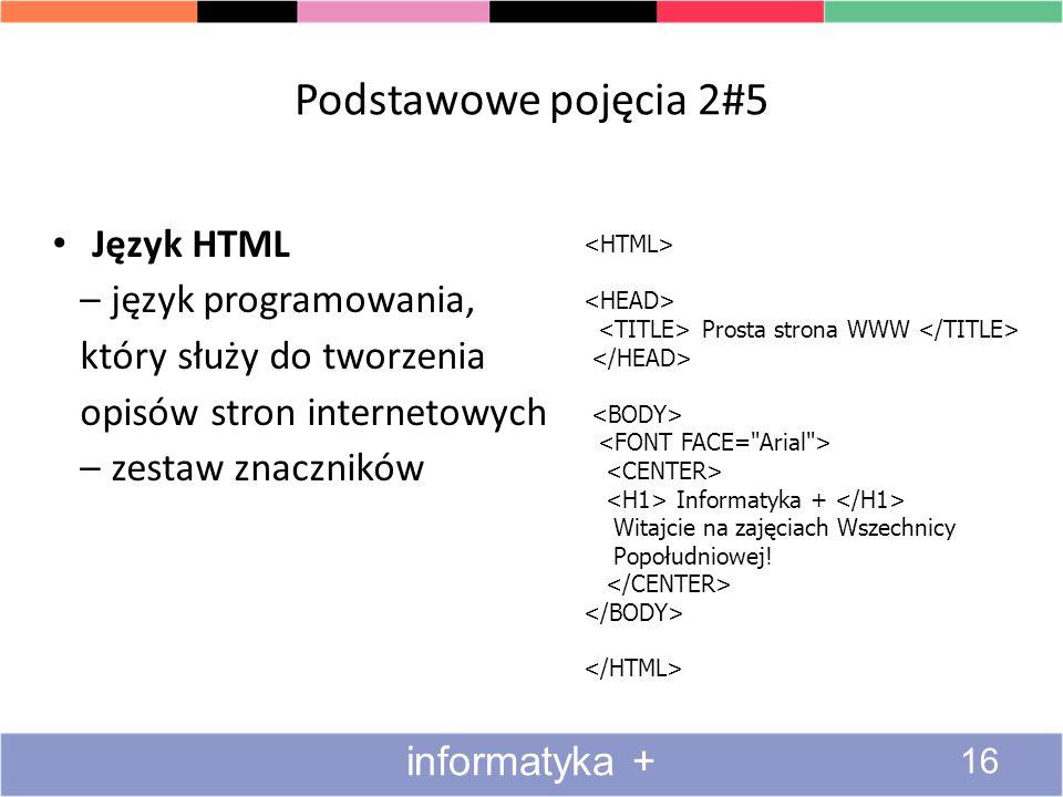Podstawowe pojęcia 2#5 Język HTML – język programowania, który służy do tworzenia opisów stron internetowych – zestaw znaczników Prosta strona WWW Inf
