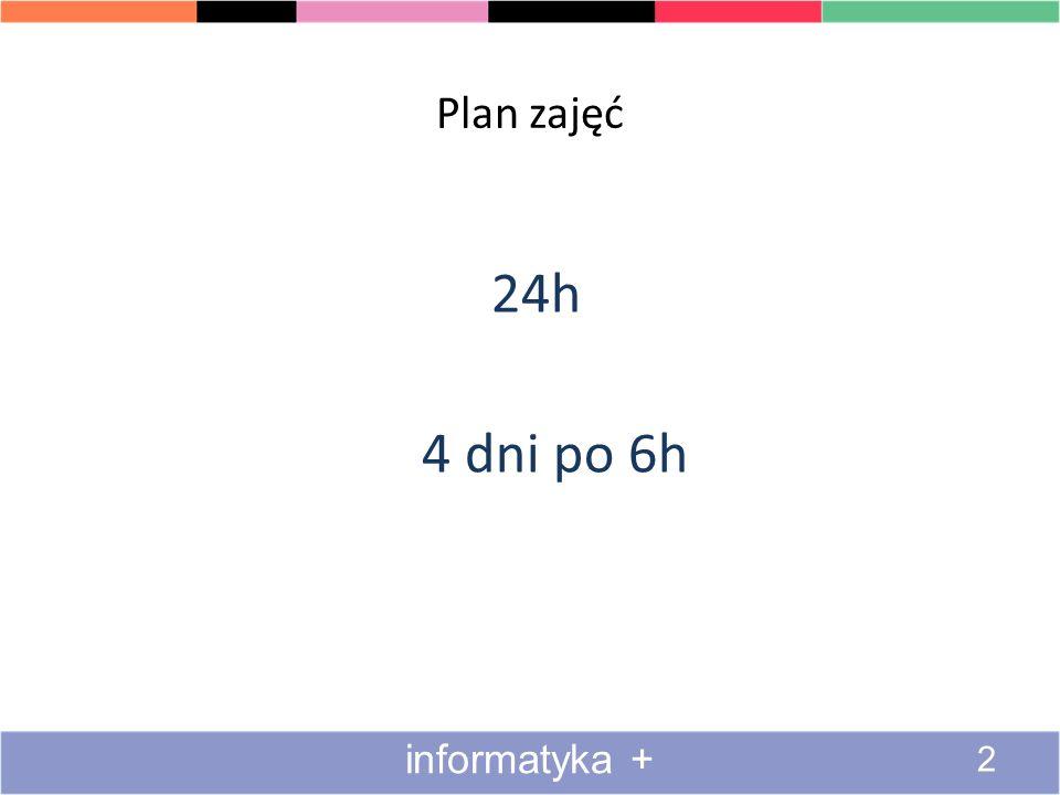 Plan zajęć 24h 4 dni po 6h informatyka + 2