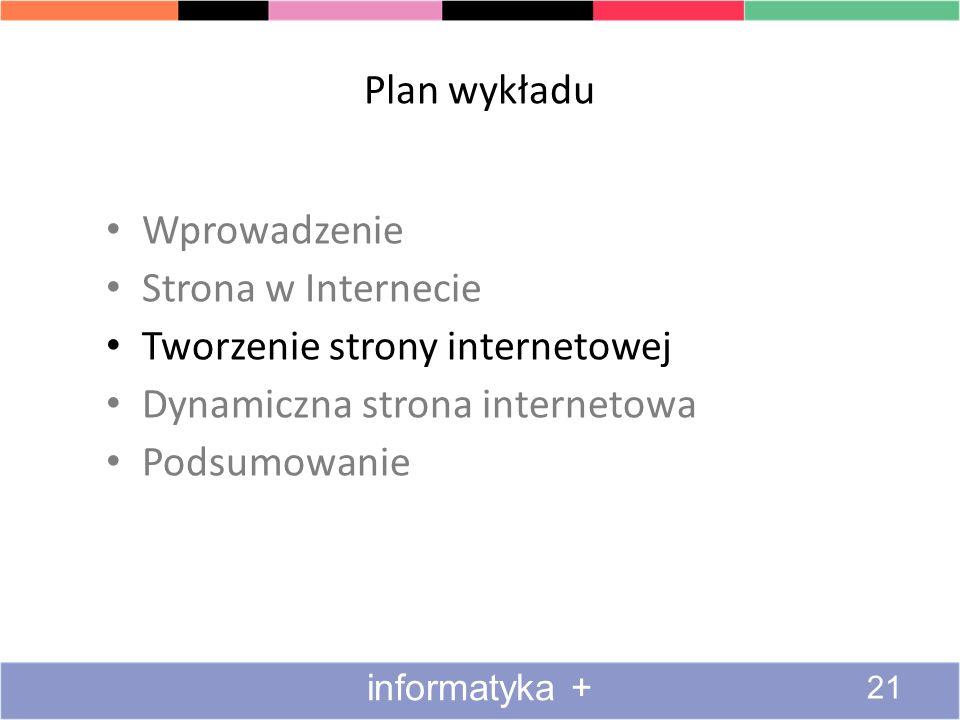 Plan wykładu Wprowadzenie Strona w Internecie Tworzenie strony internetowej Dynamiczna strona internetowa Podsumowanie informatyka + 21