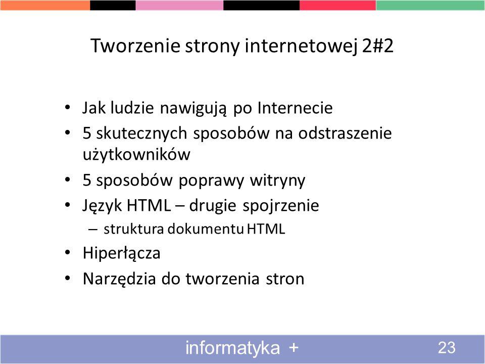 Tworzenie strony internetowej 2#2 Jak ludzie nawigują po Internecie 5 skutecznych sposobów na odstraszenie użytkowników 5 sposobów poprawy witryny Jęz