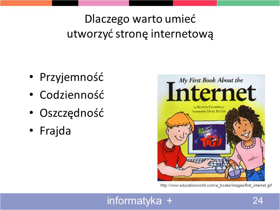 Dlaczego warto umieć utworzyć stronę internetową Przyjemność Codzienność Oszczędność Frajda http://www.educationworld.com/a_books/images/first_interne