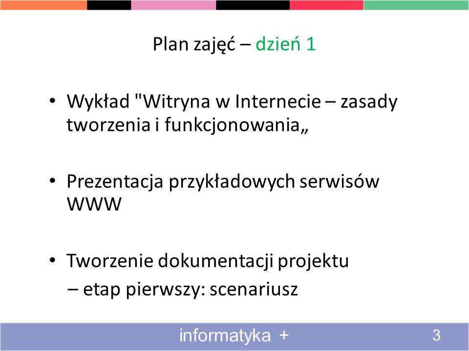 Dlaczego warto umieć utworzyć stronę internetową Przyjemność Codzienność Oszczędność Frajda http://www.educationworld.com/a_books/images/first_internet.gif informatyka + 24
