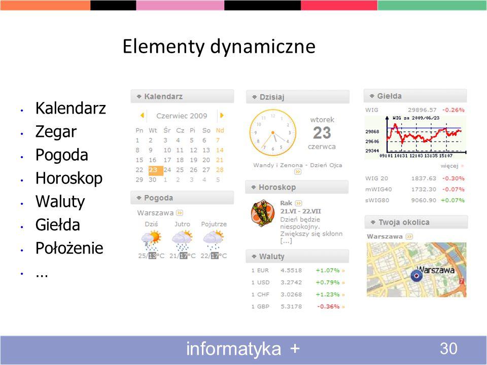 Elementy dynamiczne Kalendarz Zegar Pogoda Horoskop Waluty Giełda Położenie … informatyka + 30