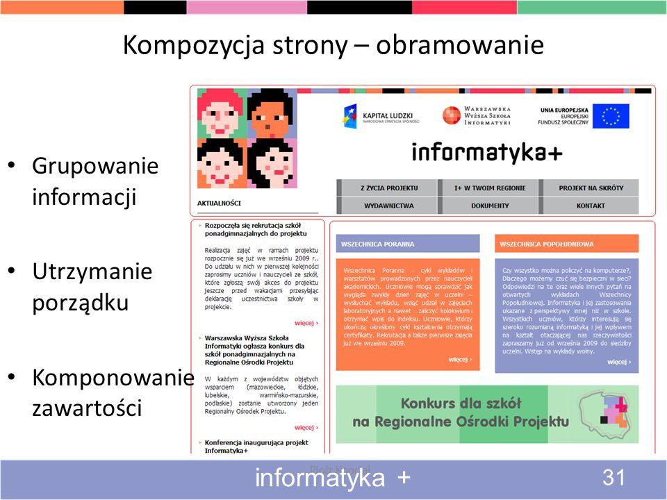 Kompozycja strony – obramowanie Piotr Kopciał informatyka + 31 Grupowanie informacji Utrzymanie porządku Komponowanie zawartości