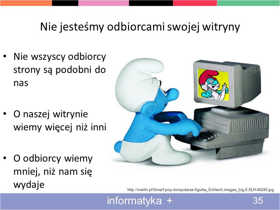 Nie jesteśmy odbiorcami swojej witryny http://merlin.pl/Smerf-przy-komputerze-figurka_Schleich,images_big,6,SLH-40249.jpg informatyka + 35 Nie wszyscy