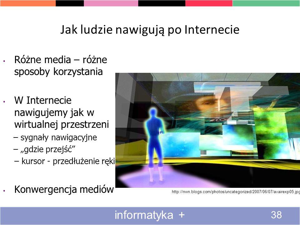 Jak ludzie nawigują po Internecie http://nwn.blogs.com/photos/uncategorized/2007/06/07/avairexp05.jpg Różne media – różne sposoby korzystania W Intern