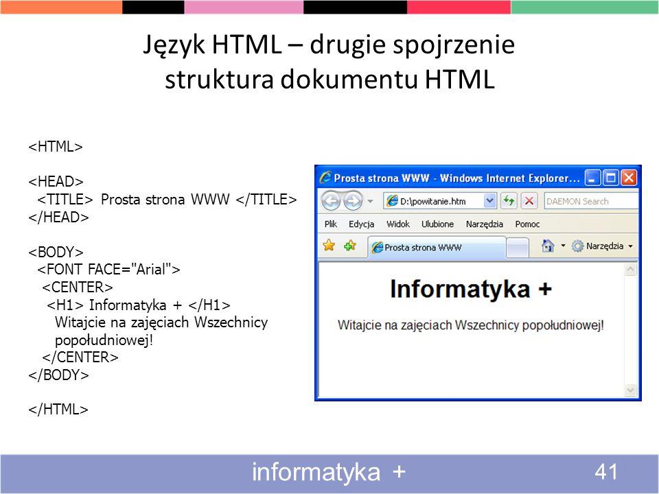 Język HTML – drugie spojrzenie struktura dokumentu HTML Prosta strona WWW Informatyka + Witajcie na zajęciach Wszechnicy popołudniowej! informatyka +