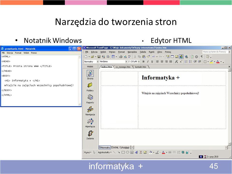 Narzędzia do tworzenia stron Notatnik Windows Piotr Kopciał Edytor HTML informatyka + 45