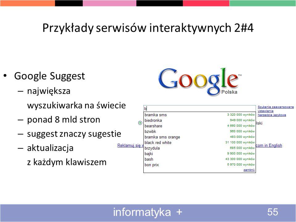 Przykłady serwisów interaktywnych 2#4 Google Suggest – największa wyszukiwarka na świecie – ponad 8 mld stron – suggest znaczy sugestie – aktualizacja
