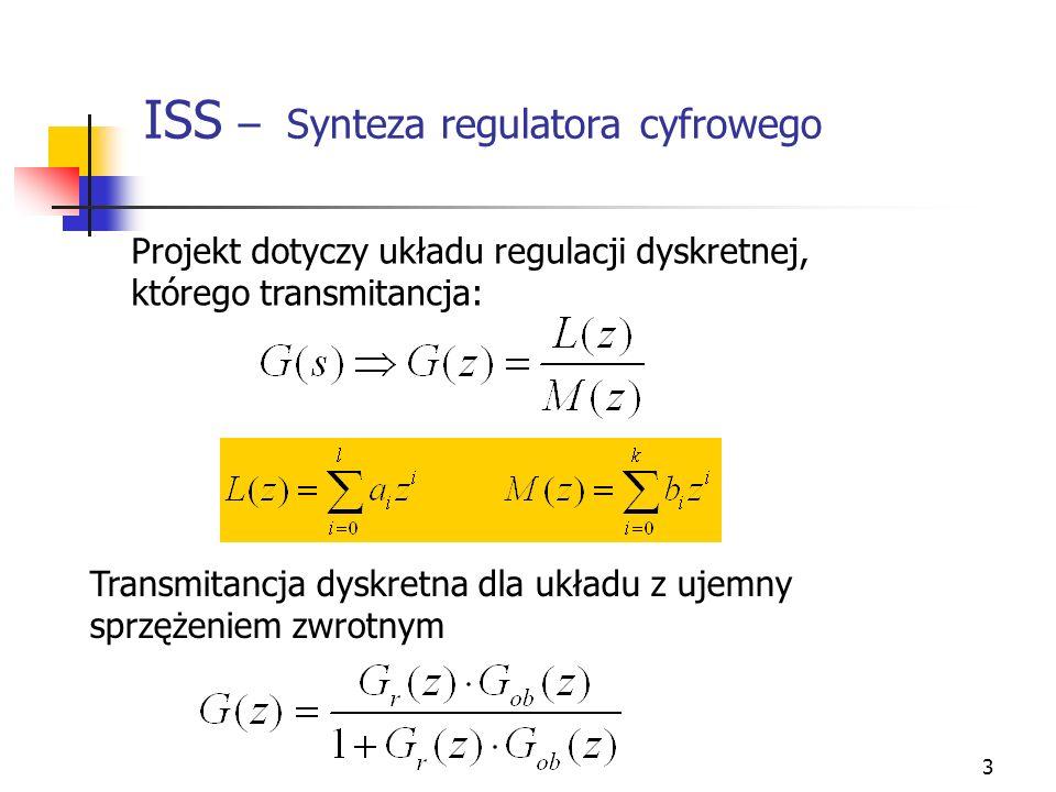 3 ISS – Synteza regulatora cyfrowego Projekt dotyczy układu regulacji dyskretnej, którego transmitancja: Transmitancja dyskretna dla układu z ujemny s