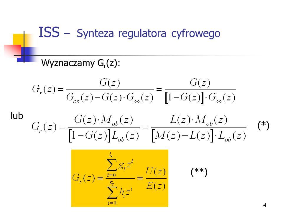5 ISS – Synteza regulatora cyfrowego Wyznaczamy równanie rekurencyjne przekształcając (**) Wykonujemy odwrotne przekształcenie Laplacea