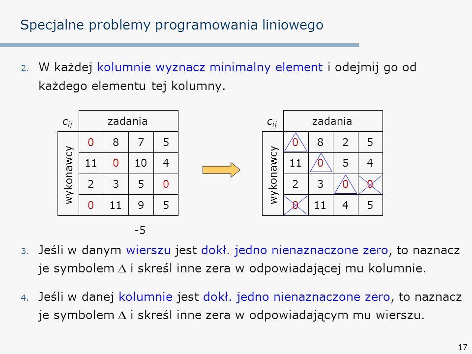 17 2.W każdej kolumnie wyznacz minimalny element i odejmij go od każdego elementu tej kolumny.