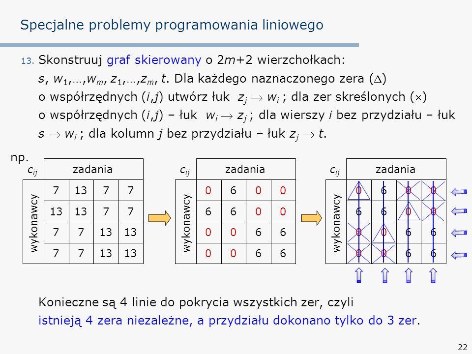 22 Specjalne problemy programowania liniowego 13.