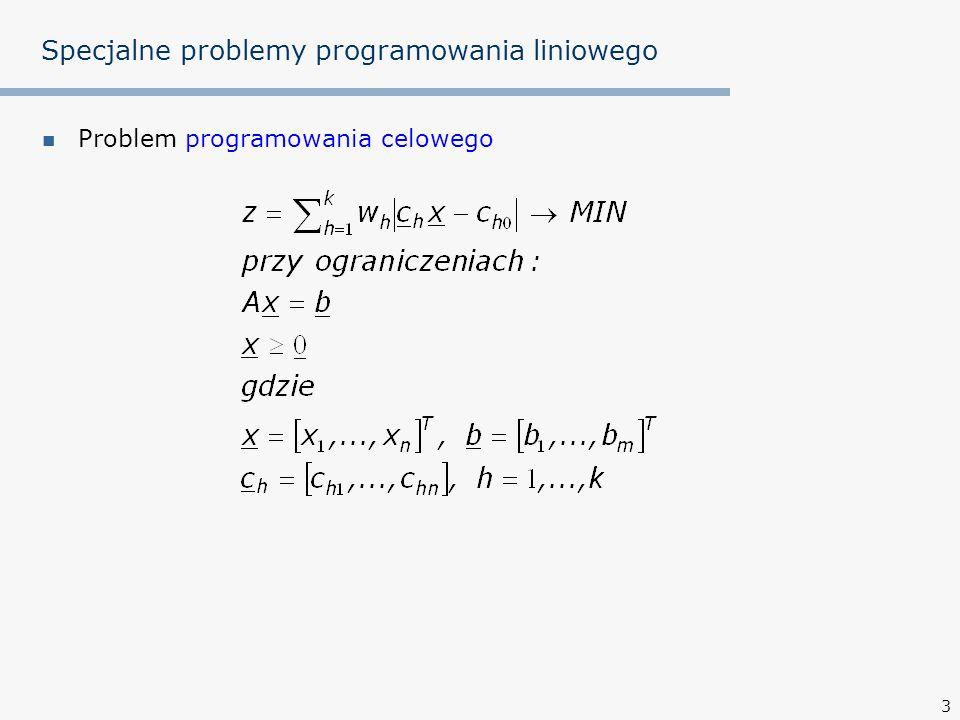 4 Specjalne problemy programowania liniowego Problem programowania min-max (problem Czebyszewa)