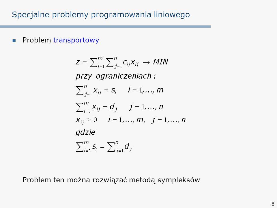 6 Specjalne problemy programowania liniowego Problem transportowy Problem ten można rozwiązać metodą sympleksów