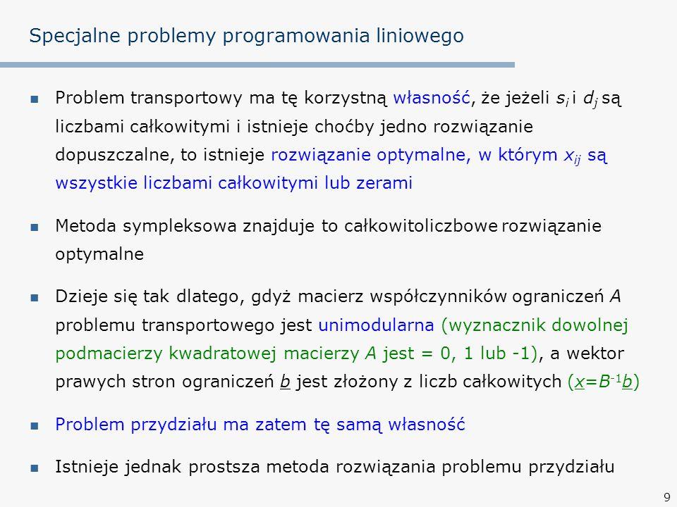 10 Specjalne problemy programowania liniowego Macierz efektywności C=[c ij ] o wymiarach mm Przydział wykonawcy do zadania polega na wyborze konkretnego elementu c ij Tych m wybranych elementów c ij ma dać minimalną sumę c ij zadania 21097 154148 13141611 415139 wykonawcy przydział niedopuszczalny