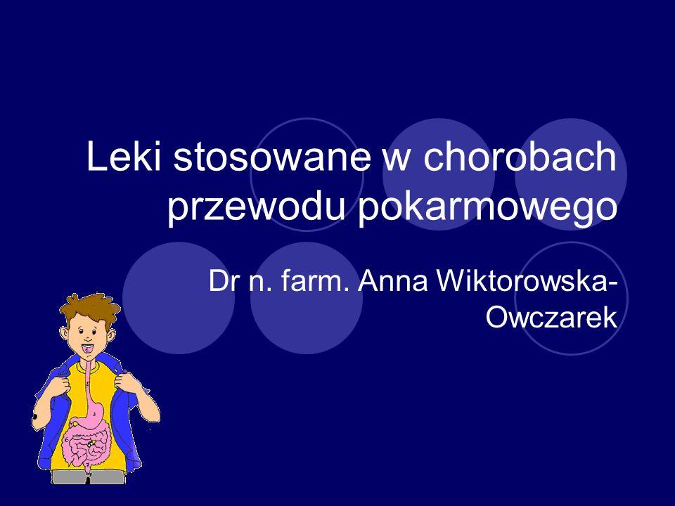 Leki stosowane w chorobach przewodu pokarmowego Dr n. farm. Anna Wiktorowska- Owczarek
