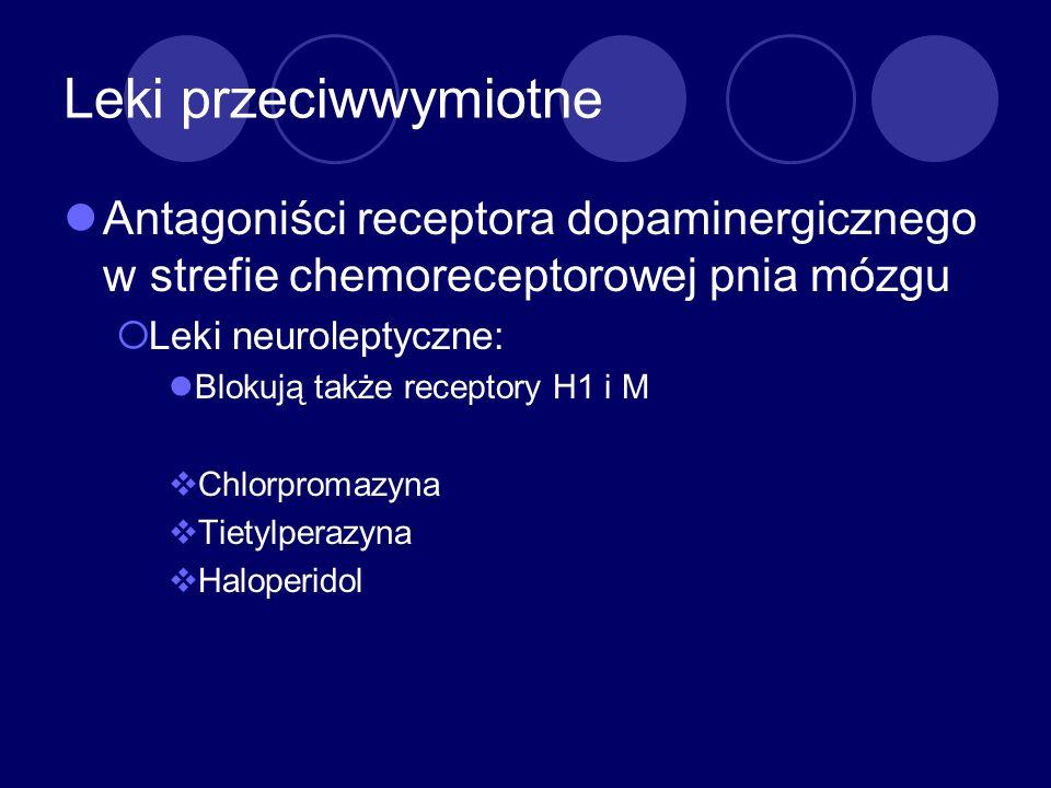 Leki przeciwwymiotne Antagoniści receptora dopaminergicznego w strefie chemoreceptorowej pnia mózgu Leki neuroleptyczne: Blokują także receptory H1 i
